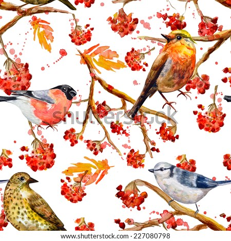 seamless texture with cute birds watercolor - stock photo