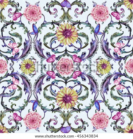 seamless texture with fancy floral pattern. watercolor painting