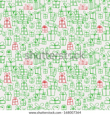 Seamless texture with green and red gift boxes. Can be used for wallpaper, pattern fills, textile, web page background, surface textures.  - stock photo