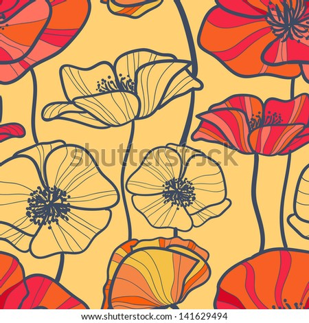 seamless texture with poppies - stock photo