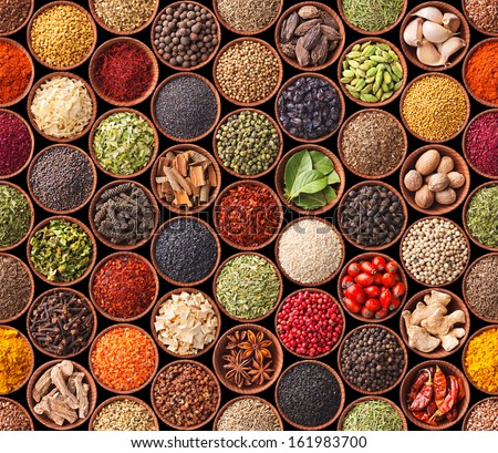 Seamless texture with spices and herbs - stock photo