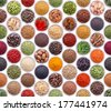 Seamless texture with spices and herbs over white background - stock