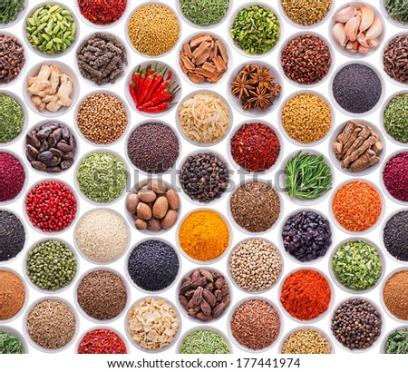 Seamless texture with spices and herbs over white background - stock photo