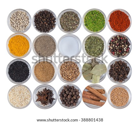 Seamless texture with spices and herbs. Wooden table of colorful spices - stock photo