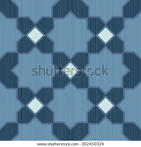 Seamless textured design mosaic of colorful tiles pattern in blue and white. - stock photo