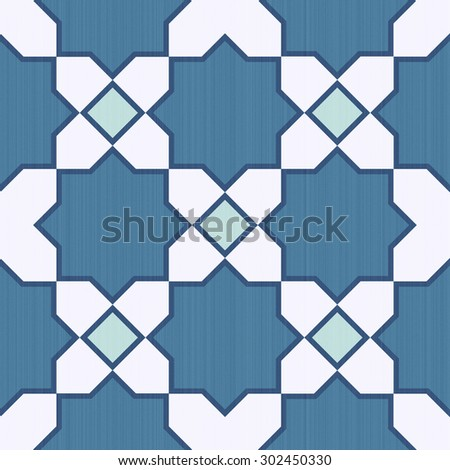 Seamless textured graphic design mosaic of colorful tiles pattern in blue and white. - stock photo