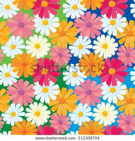 seamless textures of ox-eye daisy flowers. Raster version - stock photo