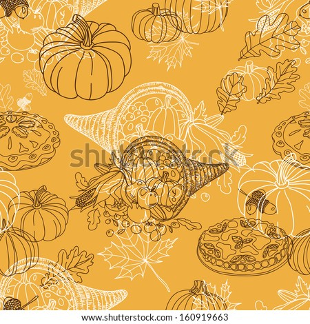 Seamless Thanksgiving  pattern. Repeating abstract background. Hand drawn illustration with turkey, corn on the cob, acorns, pumpkin, cranberry, apple pie, pilgrim hat and oak leafs.