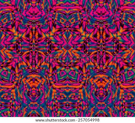 seamless tie dye kaleidoscope pattern. very detailed.  - stock photo