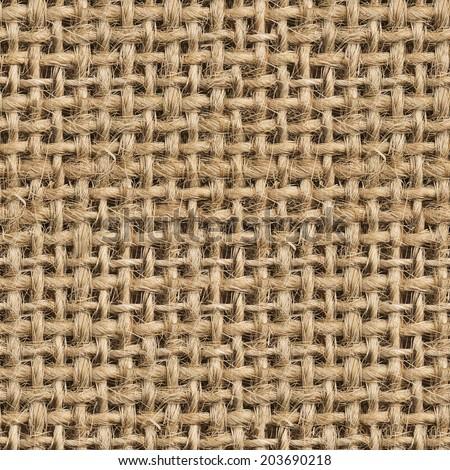 Seamless (Tileable) Fabric Jute Texture Pattern Closeup - stock photo