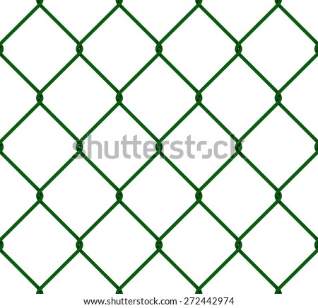 Seamless Tileable Green Plastic Coated Chain Link Fence Texture - stock photo