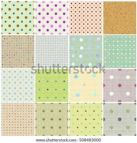 Seamless tiling fabric collection with polka dot pattern, isolated over white background