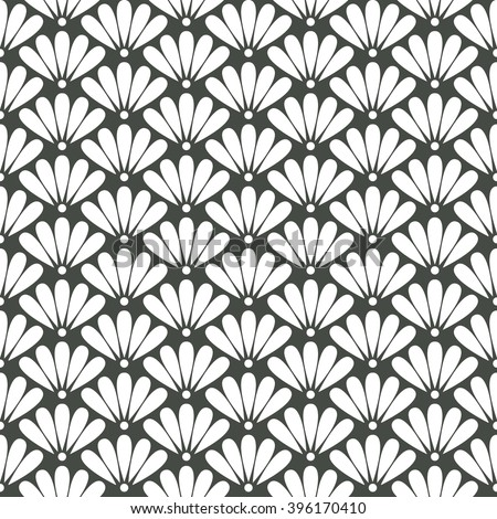 Seamless timber green oriental floral pattern