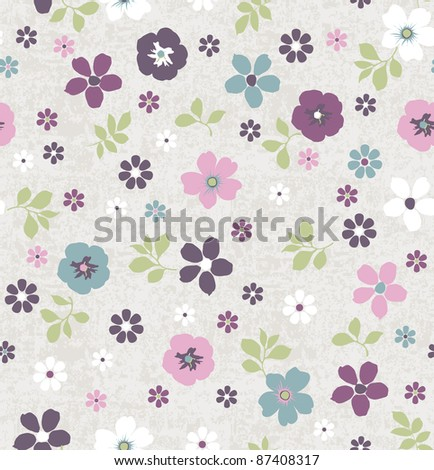 seamless Tiny floral pattern on grunge background wallpaper - stock photo