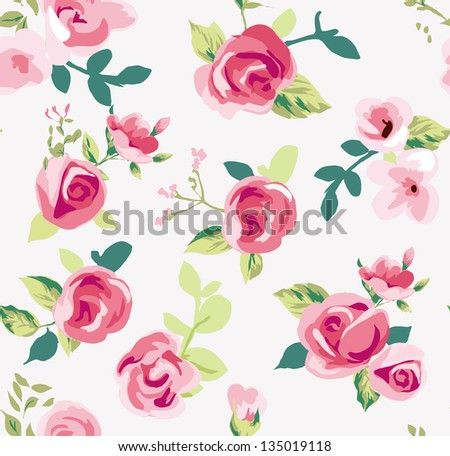 seamless tiny rose pattern background,flower,floral - stock photo