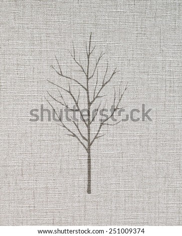 Seamless tree pattern on paper textured background. - stock photo