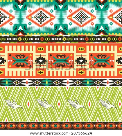 Seamless tribal pattern with geometric elements and quotes typographic text