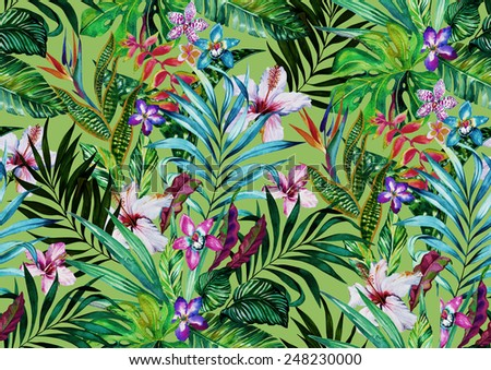 seamless tropical camouflage pattern.  - stock photo
