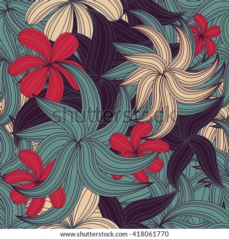 seamless tropical colorful flower plant pattern background - stock photo