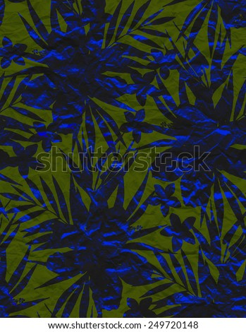 seamless tropical floral silhouette motif  in camouflage pattern. old and recycled look.  - stock photo