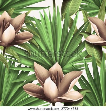 Seamless tropical flower, plant and leaf pattern background, retro botanical style. Stylish flowers. - stock photo