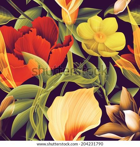 Seamless tropical flower, plant pattern background. Hawaiian, californian, florida summer style - stock photo