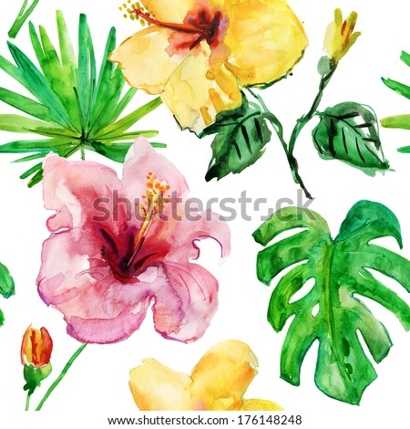 seamless tropical flower watercolor  pattern background. - stock photo