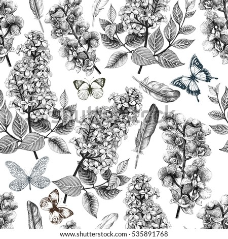 Seamless tropical flowers pattern with butterflies and feathers.Plant and leaf  background in retro botanical sketch style.
