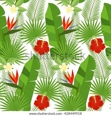 seamless tropical leaves and flowers - palm, monstera, hibiscus and plumeria, strelitzia reginae - stock photo
