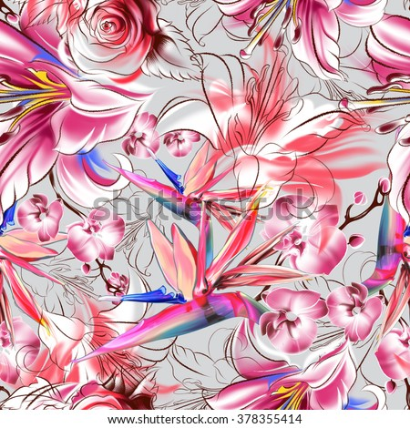 Seamless tropical pattern. Exotic flowers drawn in pencil and watercolor. Color lilies, strelitzia and orchids. Vintage elegant style. The thin smooth lines. Freehand drawing - stock photo