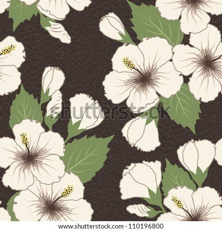 Seamless tropical pattern with hibiscus flowers - stock photo