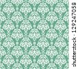Seamless Turquoise & White Damask - stock photo