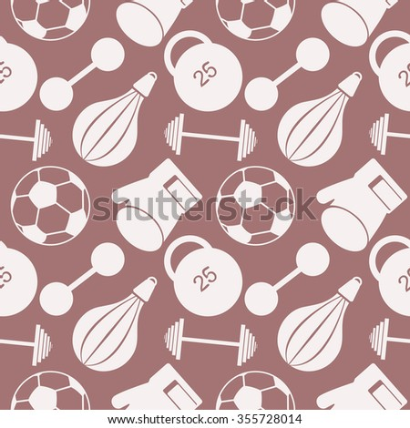 Seamless vector pattern.  Background with  closeup sports equipment. Soccer ball, punching bag, gloves, barbells, dumbbells and weight. - stock photo