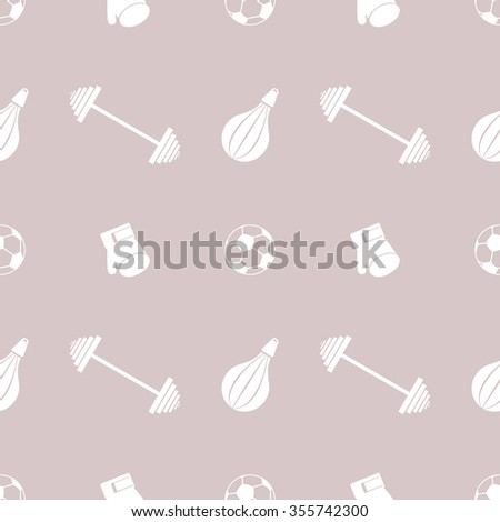 Seamless vector pattern.  Background with grey sports equipment. Soccer ball, punching bag, gloves, barbells on the grey backdrop - stock photo