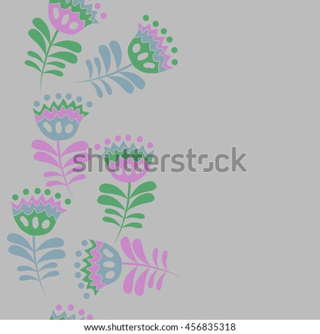 Seamless  vertical   pattern of floral motif, doodles, flowers, leaves,branches, spot, hole,  object, copy space . Hand drawn.