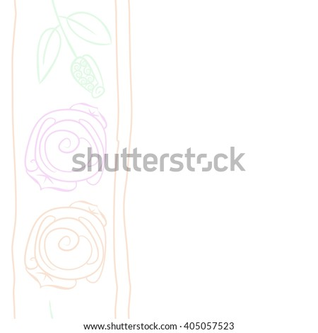 Seamless vertical pattern of stylized rosy,leaves, stripes, floral, spirals, branches, buds, copy space. Hand drawn.