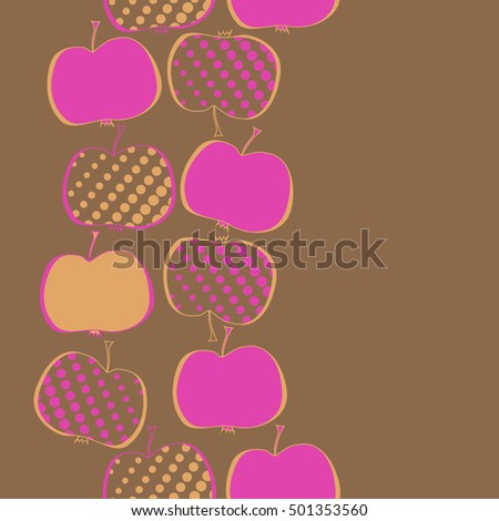 Seamless  vertical pattern with apples motif,halftone.