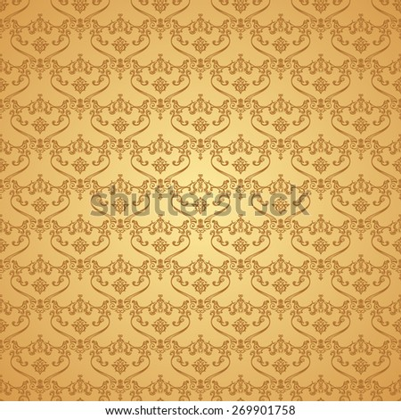 seamless vintage background. Calligraphic pattern. Royal elegant ornament gold wallpaper - stock photo