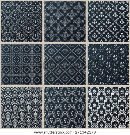 seamless vintage backgrounds. Abstract set black baroque Pattern - stock photo