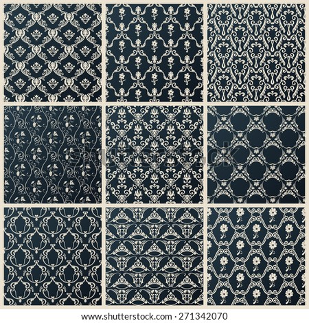 seamless vintage backgrounds. Abstract set black baroque wallpaper - stock photo