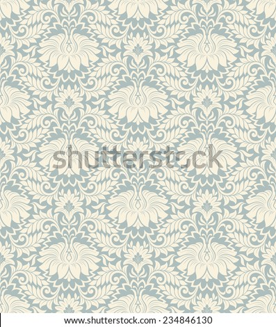 seamless vintage damask pattern background with floral retro ornament  in antique baroque style ornate decorative  calligraphy design flower - stock photo