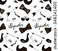 Seamless Vintage Hipster Pattern with Bows, Cigarettes, Sunglasses, Retro Arrows, Moustache, Players and Hashtags - stock vector