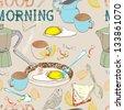 Seamless vintage morning breakfast background. Illustration for design - stock photo