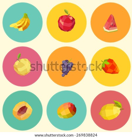 Seamless vintage polygon fruit illustration