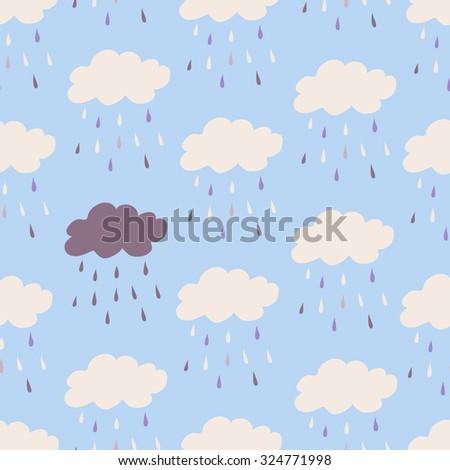 Seamless vintage style clouds rain illustration. Seamless Patterns - Rain and Clouds - Texture for wallpaper, background, texture, scrapbook - stock photo