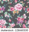 seamless vintage tropical flower pattern - stock vector