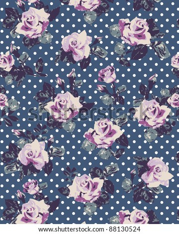 Seamless vintage wallpaper pattern with of collection pink roses on dots background - stock photo