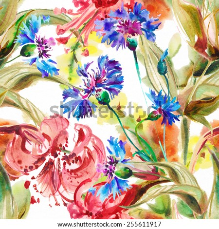 "Seamless wall-paper with flowers of the Lily,  watercolor illustration. Album "" seamless water color with the backgrounds"". Album""Picturesque Lilies"""