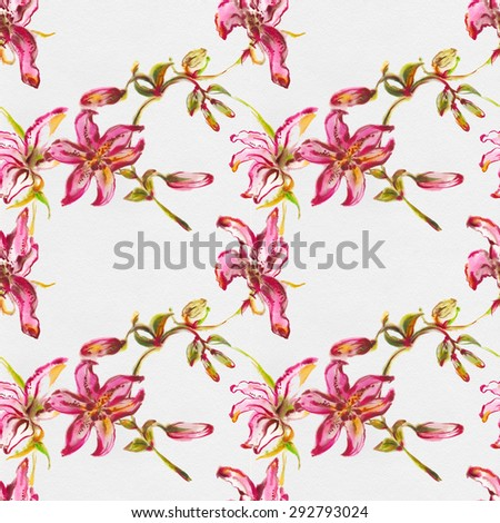 """Seamless wall-paper with flowers of the Lily,  watercolor illustration. Album """" seamless water color with the backgrounds"""". Album""""Picturesque Lilies"""" - stock photo"""