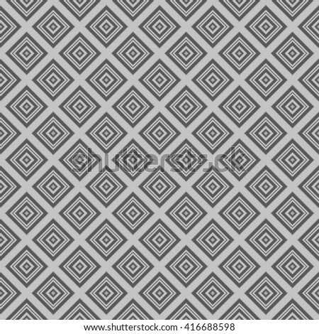Seamless wall-paper with rhombuses, gray. Geometrical strict pattern, minimalist. A print for fabric, packing paper, a background for design, etc. Male and female style.